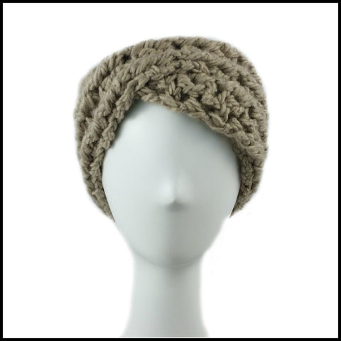 Taupe Chunky Criss Cross Earwarmer - Bundle Up Crochet - 2