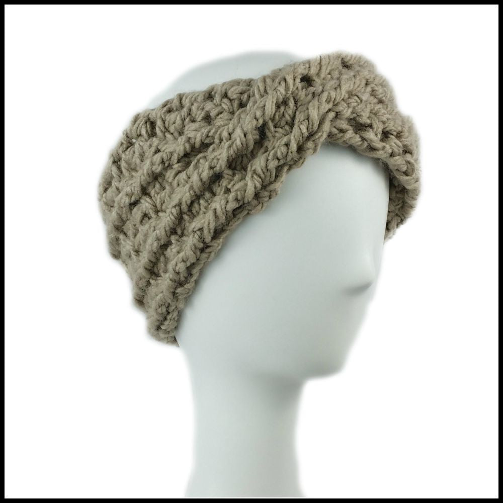 Taupe Chunky Criss Cross Earwarmer - Bundle Up Crochet - 1