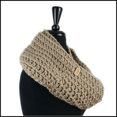 Taupe Chunky Infinity Scarf - Bundle Up Crochet - 4