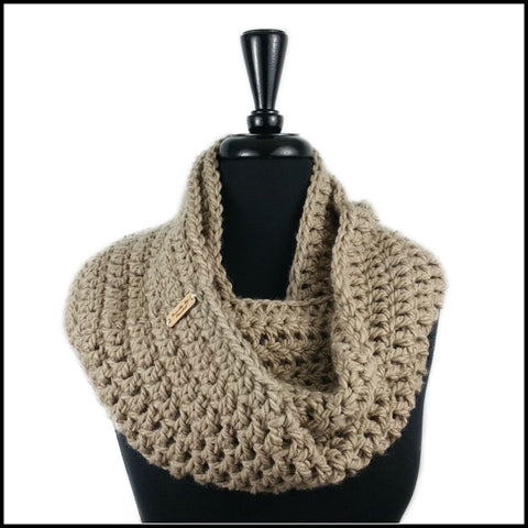 Taupe Chunky Infinity Scarf - Bundle Up Crochet - 1
