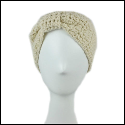 Beige Cinch Turban Earwarmer - Bundle Up Crochet - 2