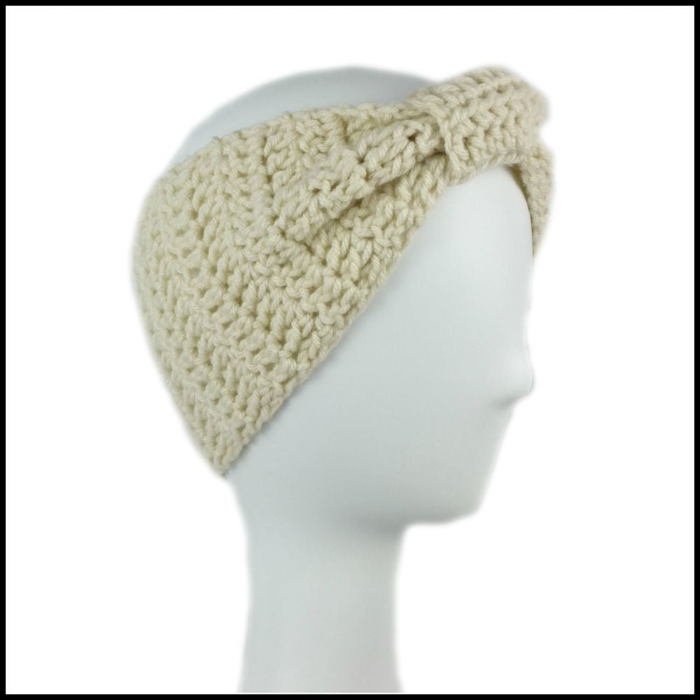 Beige Cinch Turban Earwarmer - Bundle Up Crochet - 1