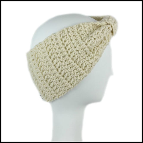 Beige Cinch Turban Earwarmer - Bundle Up Crochet - 3