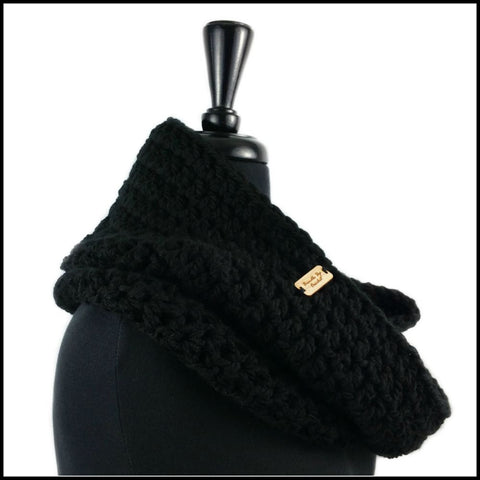 Black Chunky Infinity Scarf - Bundle Up Crochet - 2