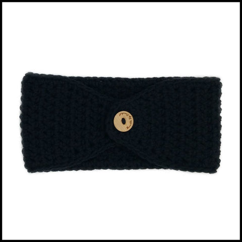 Black Earwarmer with Royal Blue Flower - Bundle Up Crochet - 2