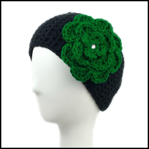 Black Earwarmer with Green Flower - Bundle Up Crochet - 1