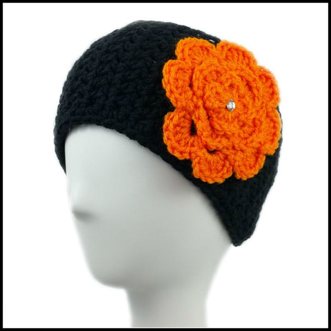 Black Earwarmer with Orange Flower - Bundle Up Crochet - 1