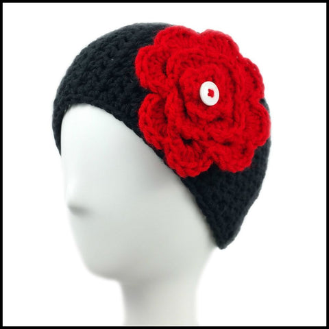 Black Earwarmer with Red Flower - Bundle Up Crochet - 1