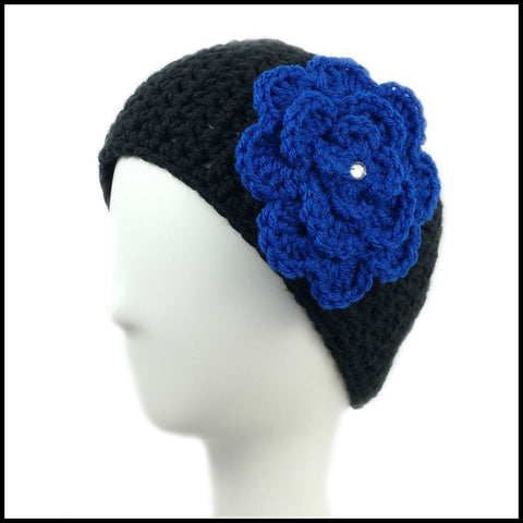 Black Earwarmer with Royal Blue Flower - Bundle Up Crochet - 1