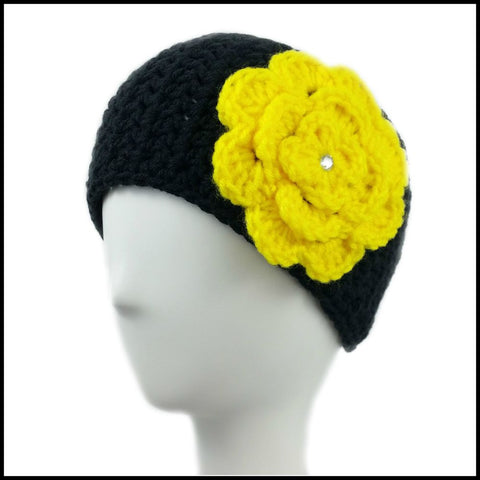 Black Earwarmer with Yellow Flower - Bundle Up Crochet - 1