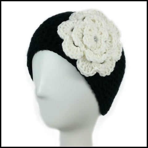 Black Earwarmer with White Flower - Bundle Up Crochet - 1