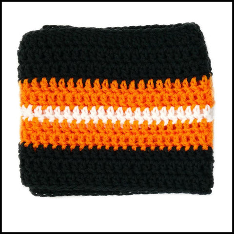 Black, Orange & White Infinity Scarf - Bundle Up Crochet - 3