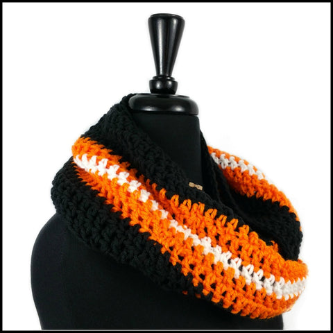 Black, Orange & White Infinity Scarf - Bundle Up Crochet - 2