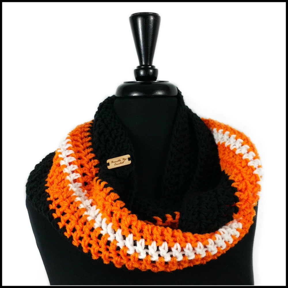 Black, Orange & White Infinity Scarf - Bundle Up Crochet - 1