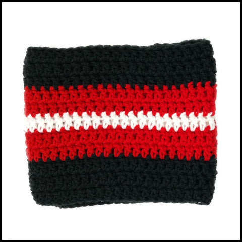 Black, Red & White Infinity Scarf - Bundle Up Crochet - 3