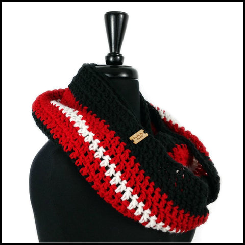Black, Red & White Infinity Scarf - Bundle Up Crochet - 2