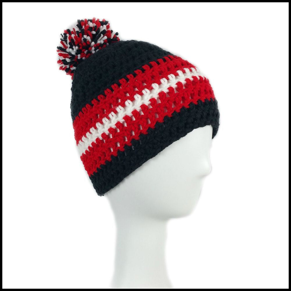 Black, Red & White Hat - Bundle Up Crochet - 1