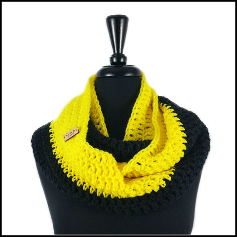 Black & Yellow Infinity Scarf - Bundle Up Crochet - 1