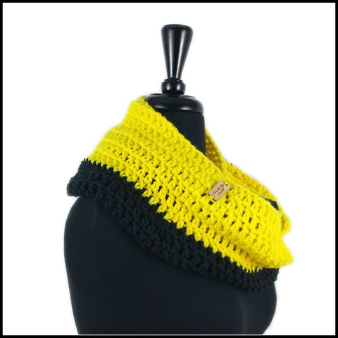 Black & Yellow Infinity Scarf - Bundle Up Crochet - 2