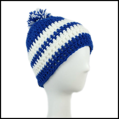 Royal Blue & White Hat - Bundle Up Crochet - Duke University - University of Kentucky - Wildcats - Blue Devils - Los Angeles Dodgers - Beanie