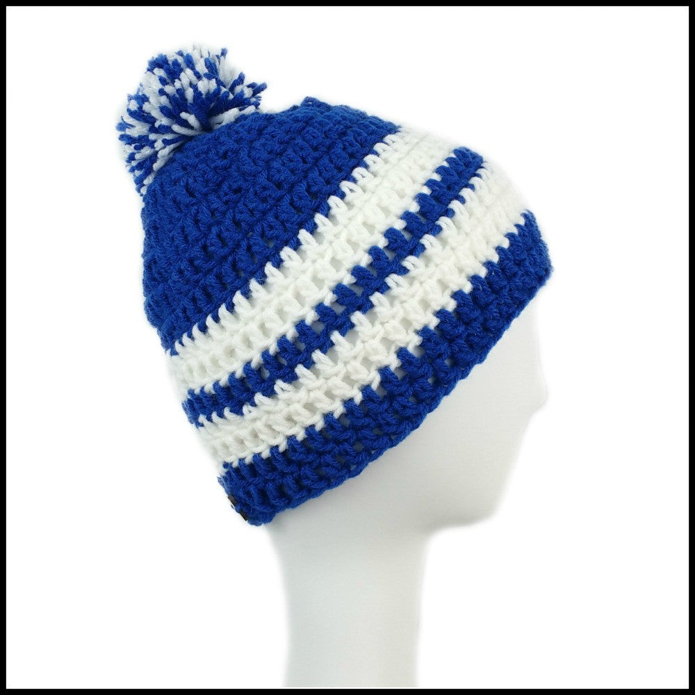 Royal Blue and White Crocheted Hat /& Scarf Set