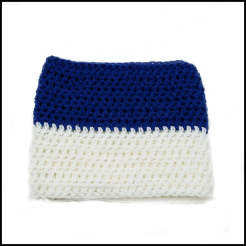 Royal Blue & White Infinity Scarf - Bundle Up Crochet - 2