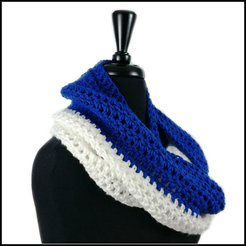 Royal Blue & White Infinity Scarf - Bundle Up Crochet - 3