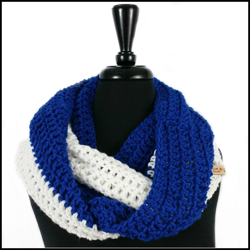 Royal Blue & White Infinity Scarf - Bundle Up Crochet - 1