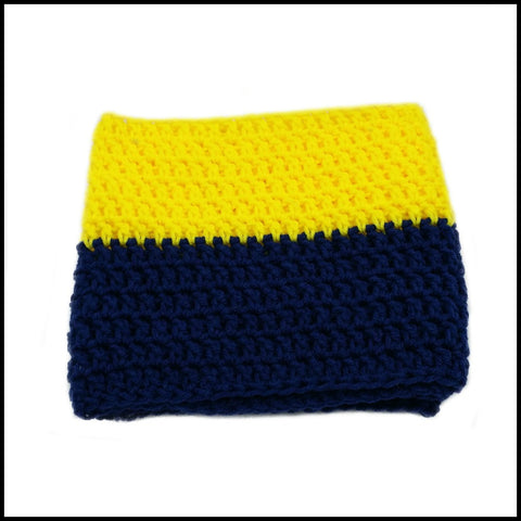 Navy Blue & Yellow Infinity Scarf - Bundle Up Crochet - 3