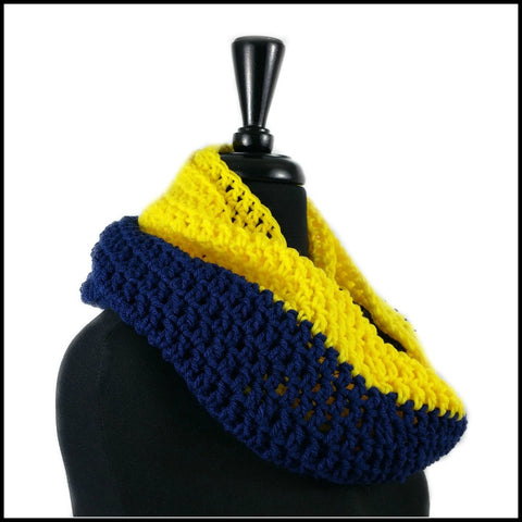 Navy Blue & Yellow Infinity Scarf - Bundle Up Crochet - 2