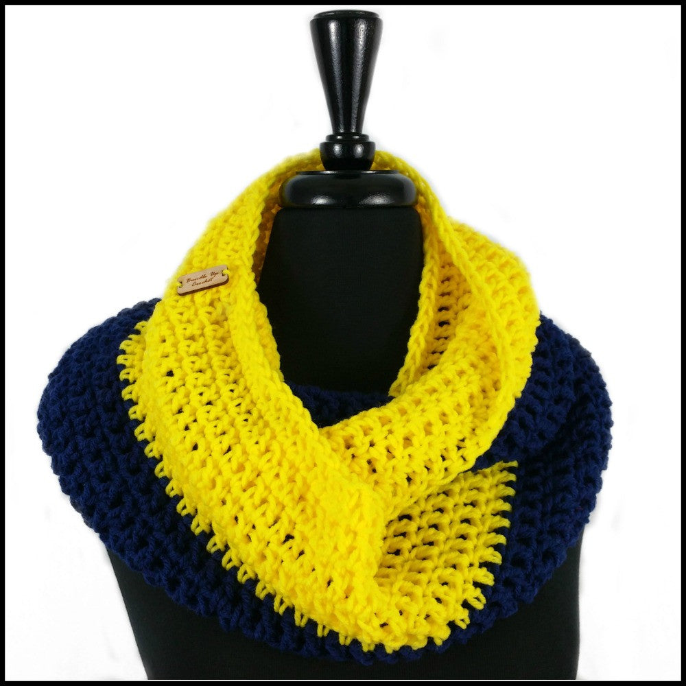 Navy Blue & Yellow Infinity Scarf - Bundle Up Crochet - 1
