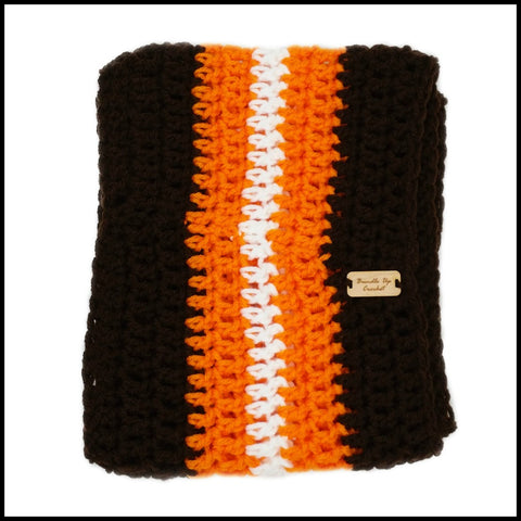 Brown, Orange & White Infinity Scarf - Bundle Up Crochet - 3