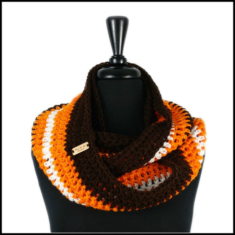 Navy Blue, Burnt Orange & White Infinity Scarf - Bundle Up Crochet - 9