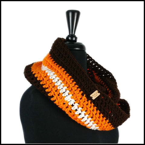 Brown, Orange & White Infinity Scarf - Bundle Up Crochet - 2