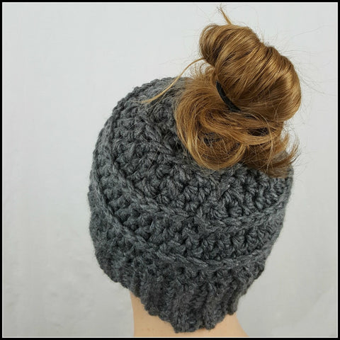 Charcoal Bun Beanie - Bundle Up Crochet - 3