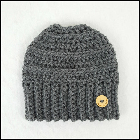 Charcoal Bun Beanie - Bundle Up Crochet - 2