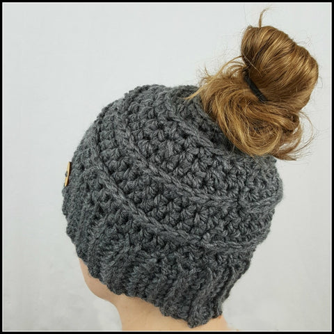 Charcoal Bun Beanie - Bundle Up Crochet - 1