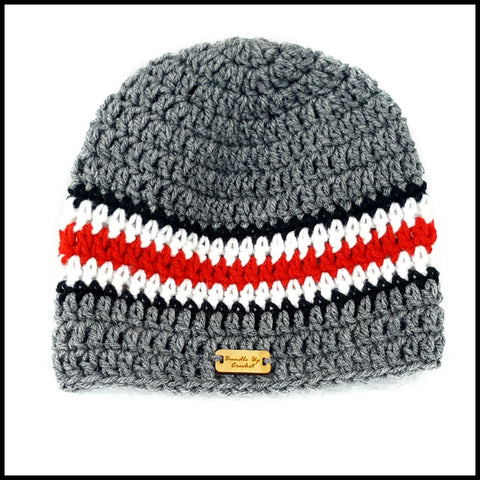Charcoal Gray, Black, White & Red Hat - Bundle Up Crochet - 2