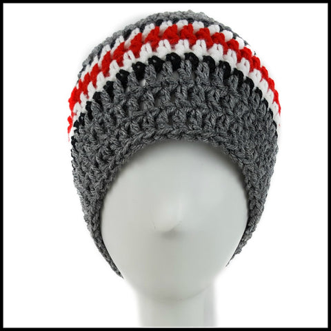 Charcoal Gray, Black, White & Red Hat - Bundle Up Crochet - 3