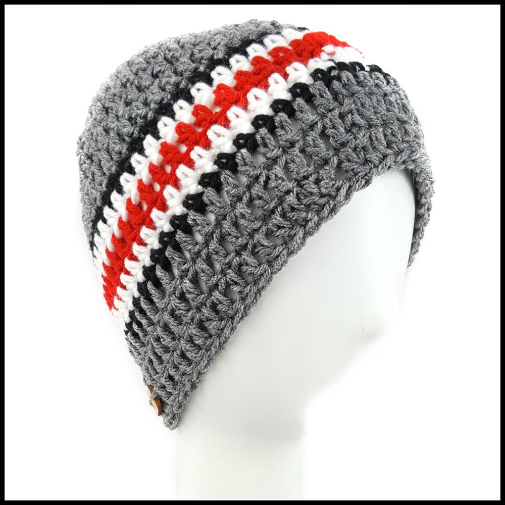 Charcoal Gray, Black, White & Red Hat - Bundle Up Crochet - 1