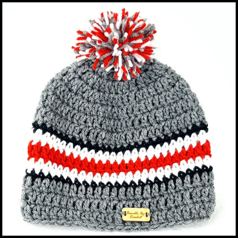 Charcoal Gray, Black, White & Red Hat with Pom - Bundle Up Crochet - 3