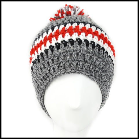 Charcoal Gray, Black, White & Red Hat with Pom - Bundle Up Crochet - 2