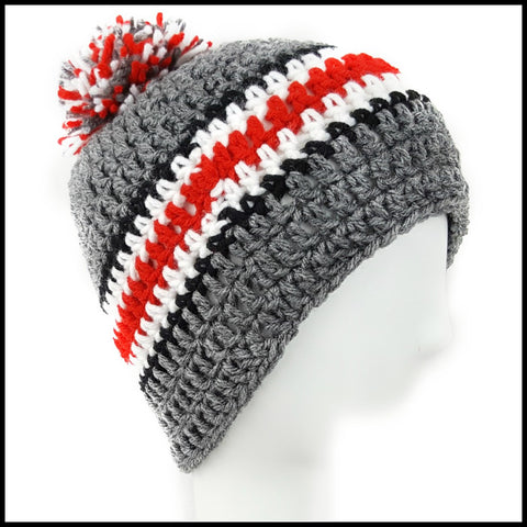 Charcoal Gray, Black, White & Red Hat with Pom
