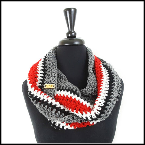 Charcoal Gray, Black, White & Red  Infinity Scarf