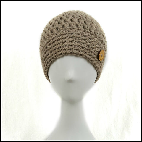 Chunky Taupe Hat - Bundle Up Crochet - 2