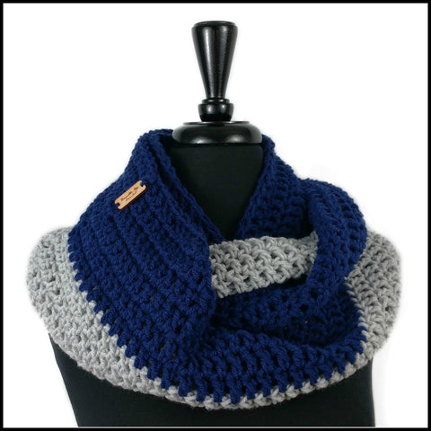 Royal Blue & White Infinity Scarf - Bundle Up Crochet - 8