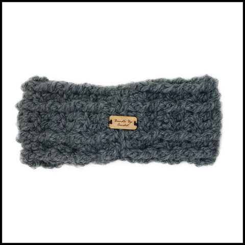 Charcoal Chunky Criss Cross Earwarmer - Bundle Up Crochet - 4