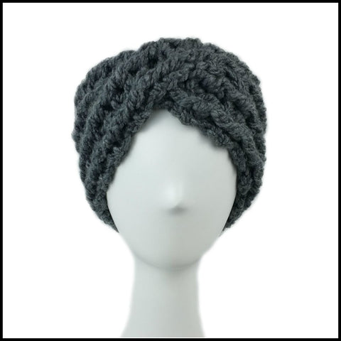 Charcoal Chunky Criss Cross Earwarmer - Bundle Up Crochet - 2