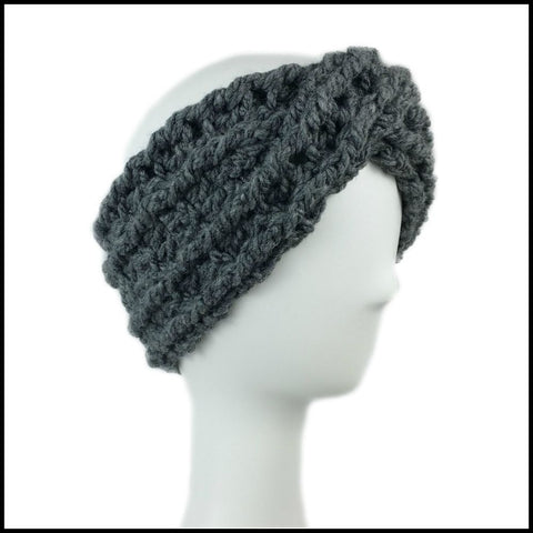 Charcoal Chunky Criss Cross Earwarmer - Bundle Up Crochet - 1