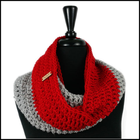 Red & Navy Blue Infinity Scarf - Bundle Up Crochet - 9